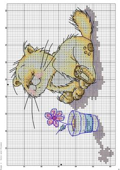 Cat with a flower cross stitch Cute Cross Stitch, Cross Stitch Animals, Cross Stitch Kits, Cross Stitch Charts, Cross Stitch Designs, Cat Cross Stitches, Cross Stitching, Cross Stitch Embroidery, Hand Embroidery