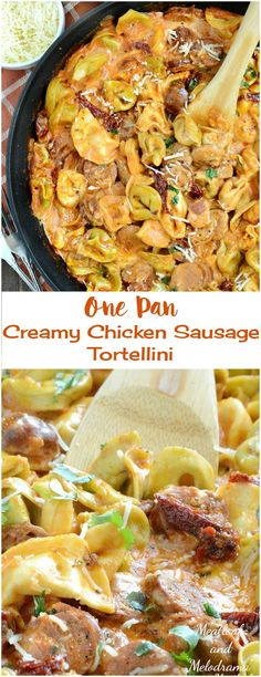 One Pan Creamy Chicken Sausage Tortellini in a tomato cream sauce with sun dried tomatoes - an easy dinner ready in 20 minutes!