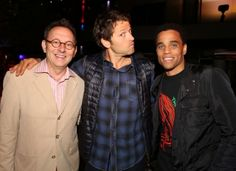 Two Michaels and a Misha! (L-R) PERSON OF INTEREST's Michael Emerson, SUPERNATURAL's Misha Collins and ALMOST HUMAN's Michael Ealy at the Warner Bros./DC Entertainment Comic-Con Party & Superman 75th Celebration #WBSDCC (©2013 WBEI. All Rights Reserved.)