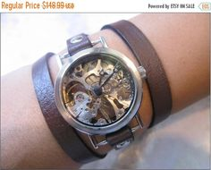 Skeleton Watch Leather Watch-Women wrist watch-Bracelet wrap Watch Steampunk Mechanical Bracelet Watch- brown Genuine leather retro Watch