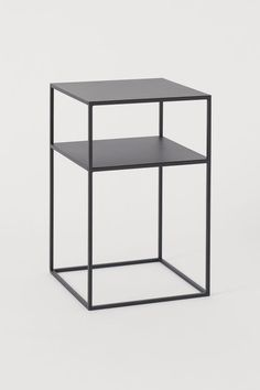 Square side table with a painted metal frame and practical shelf underneath. The table is supplied ready to assemble. Black Side Table, Metal Side Table, Hygee Home, Schwarz Home, Side Tables Bedroom, Square Side Table, Narrow Side Table, Pinterest Home, Metallic Paint