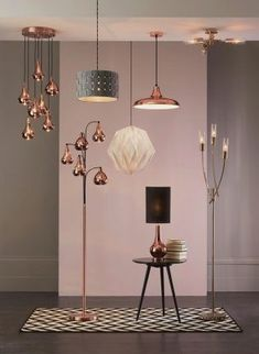 With copper being the trend of the year, make a statement in your home with some gorgeous copper colour glass shades from Next. My Living Room, Living Room Decor, Copper Living Room, Interior Dorado, Kitchen Ceiling Lights, Interior Lighting, Living Room Lighting Ceiling, Garage Lighting, Copper Lighting