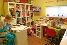 This craft room set up gives great ideas for multiple work stations.