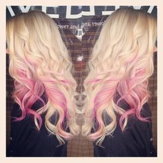 Long Blonde with Pink Hair