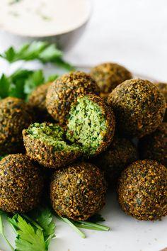 Falafel are delicious balls of chickpea and herb goodness that you find in Middle Eastern cooking. Naturally vegan and vegetarian, falafel are great in wra Falafel Recipe Canned, Best Falafel Recipe, Veggie Recipes, Baking Recipes, Vegetarian Recipes, Veggie Meals, Party Recipes, Vegetable Dishes, Recipes