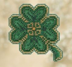 """MH180102 - Lucky Day (2010) - Mill Hill - Seasonal Ornament / Pin Kits - Spring Bouquet Kit Includes: Beads, treasures, perforated paper, magnet, floss, needles, chart and instructions. (1 of 6 designs in display Size: 2.5"""" x 2.5"""""""