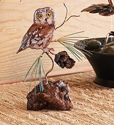 Saw-Whet Owl On Manzanita Base Wall Sculpture by Bovano of Cheshire U$140