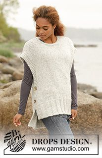 Free knitting patterns and crochet patterns by DROPS Design Ladies Cardigan Knitting Patterns, Knit Vest Pattern, Knitting Patterns Free, Knit Patterns, Free Knitting, Drops Design, Knitting Designs, Knitting Projects, Knitted Cape
