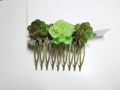 Succulent hair comb-Jasmin comb Wedding Hair by BeautyJewelryGifts
