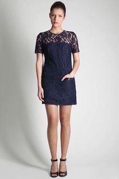 NWT $228 French Connection Lucy Lace Shift Dress Navy Illusion 2 XS pockets #FrenchConnection #Shift #Cocktail