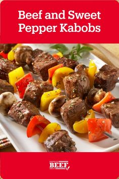 Flavorful kabobs are a classic recipe you need up your sleeve at all times. Steak is layered with mushrooms, peppers and onions for a new family favorite! What could make this recipe better? A flavorful yogurt sauce for dipping. Beef Chuck Steaks, Tenderloin Steak, Roast Brisket, Pork Roast, Easy Campfire Meals, Campfire Food, Campfire Recipes, Beef Kabob Recipes, Game Recipes