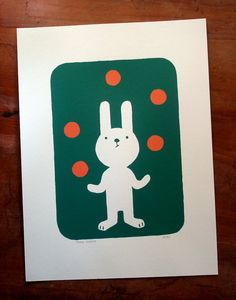 The juggler rabbit, silkscreen print, limited edition, signed by lesvieuxours