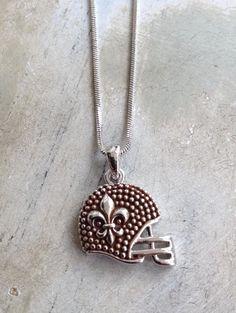 Fleurty Girl - Everything New Orleans - Silver Fleur de Lis Helmet Necklace, $15.