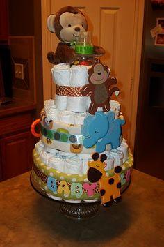 Jungle Diaper Cake by @Joanna Osborne