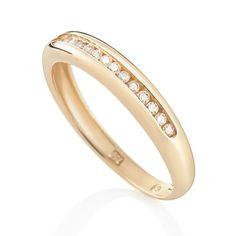 Meia Aliança de Ouro Amarelo e 10,5 Pontos de Diamantes Jazz