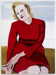 Chantal Joffe, New Figurative Painting Big Blonde in a red Dress
