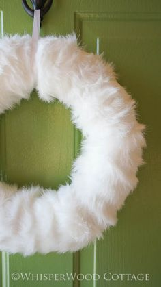 Winter White Faux Fur Wreath (and No Sewing!)