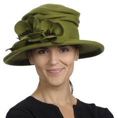 Love this hat, make matching green jacket and black skirt for a fabulous outfit.