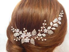 Floral hair vines, Rose headpiece, Rose hair vine, Bridal Hair Piece, Wedding hairpiece, Bridal headpiece, Bridal Jewelry, Rose bridal comb, Decorative comb, Rose gold comb, Wedding diadem, Rose bridal vine, Rose gold vine, Floral hair vine, Rose headpiece, Gold rose hair vine, Rose flower