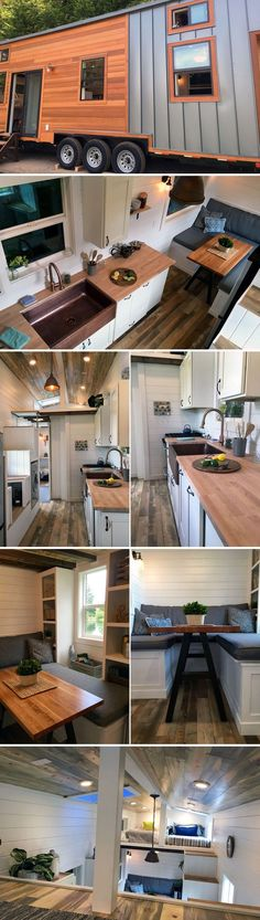 This tiny house features two sets of storage stairs, one leading to the master bedroom loft and the other leading to a split loft for two children.  The full kitchen includes a copper farm sink, four-burner stove, and plenty of cabinet space.