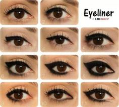 Different ways to line your eyes <3
