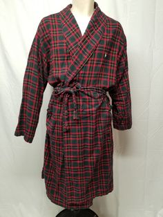 4af91a097a6 Details about Neiman Marcus Mens Red Black Tartan Plaid Super Flannel  Cotton Bath Robe L XL