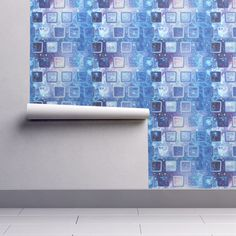 Isobar Durable Wallpaper featuring ICE CUBE ALTERNATED UNDER A BLUE NEBULA STARRY SKY by paysmage | Roostery Home Decor