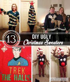 DIY Christmas Gifts! 13 DIY Ugly Christmas Sweaters   http://pioneersettler.com/diy-ugly-christmas-sweaters/