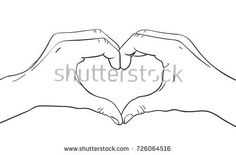 Sketch of hands showing heart shape gesture, Hand drawn vector line art illustration