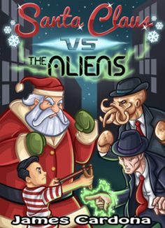 http://bookbarbarian.com/santa-claus-vs-the-aliens-by-james-cardona/ - In this fast paced, Children's holiday science fiction adventure, Edwin, a fourteen year old and an odd character dressed as Santa Claus attempt to stop aliens and save the planet in 1950's Manhattan.  When Edwin cuts his finger, dripping a few drops of blood onto a bone-colored tracking device he becomes a target of a group of aliens that think he holds the secret to the human race's defeat. The o