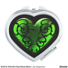 Goth St. Patrick's Day Green Heart Compact Mirror