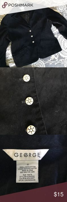 Black Velour Blazer Excellent used condition. No signs of wear other than slight discoloration to tag. Buttons feature sparkly rhinestone detail. George Jackets & Coats Blazers