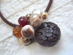 Hair Elastic  Brown Flower Beads Woodcarving by KanaBeadsGarden, $9.00