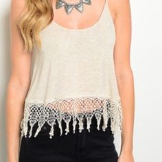 Fringed tank Crochet lace  hemline 96% rayon 4% spandex( retail:NWOT ) Boutique Tops Tank Tops