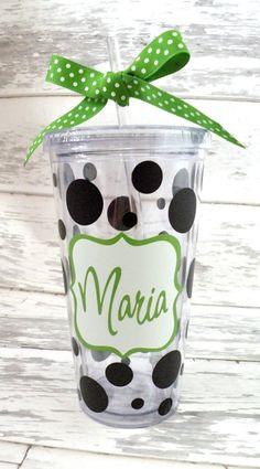 personalized monogrammed 20 ounce acrylic straw tumbler
