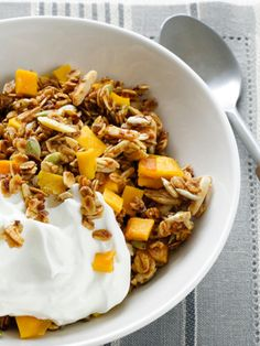 Mango-Agave Granola With Greek Yogurt recipe from Bobby Flay via Food Network