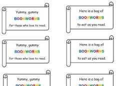 Free printable bookworm tags