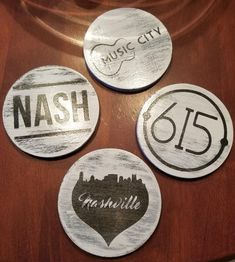 Set of 4 Round Wood Rustic Drink Coasters – Nashville Themed - Wood Projects Funny Coasters, Wood Coasters, Drink Coasters, Wood Projects For Kids, Kids Wood, Cup Coaster, Christmas Delivery, All Design, Tennessee