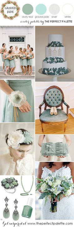 Now Trending: Grayed Jade Wedding Ideas - to see more: http://www.theperfectpalette.com/2014/02/now-trending-grayed-jade-and-dusty-teal.html