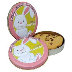 1.5oz Easter Oval Shaped Tin with Individually Wrapped Chocolate Chip cookie.