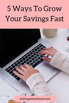 5 Ways To Grow Your Savings Fast Ways To Save Money, Make More Money, Extra Money, Extra Cash, Saving Ideas, Money Saving Tips, Money Change, Household Expenses, Best Savings