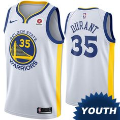 Golden State Warriors Nike Dri-FIT Youth Kevin Durant  35 Swingman  Association Jersey - f41f59d34