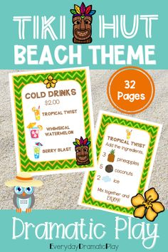 Are your young learners ready for some beach themed pretend play? The beach dramatic play is open for creating and serving tasty drinks. This summer theme dramatic play set will have your little learners counting, sorting, ordering and mixing up some fun play time with their friends in the dramatic play center. Preschool, pre-k, and kindergarten children will love using their imaginations to visit the Tiki Hut. It is a perfect addition to a beach theme, ocean theme or summer theme.