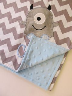 Personalized Baby Blanket 30x35- Minky Baby Blanket- Chevron Minky Blanket- Applique Baby Blanket- Custom Blanket- Chevron Bedding- Hippo