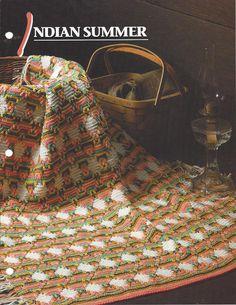 Verão Indiano afegão e um tapete Malha itens decorativos Criações -  /    Indian Summer Afghan And Rug Knit Knacks Creations -
