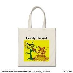 Candy Please Halloween Witch tote Bag.