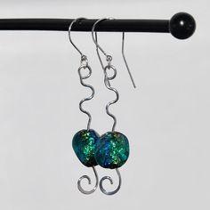 Dichroic glass earrings sterling silver blue by KarmaKittyJewelry