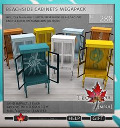 Trompe Loeil Beachside Cabinets - Plain & Illustrated Versions included - 6 recolors available - 3LI, copy/mod ok | no trans - Cabinet doors open & close on touch - Demo on site - 88L each - 288L fatpack
