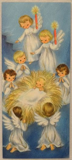 1950s Christmas card; angels and Baby Jesus