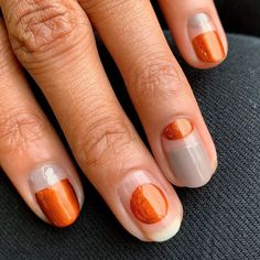 From French tips to earthy gradient, these are the chicest nail-art designs to wear with fall's trendiest nail-polish shade. #nailart #falltrends #fallnails #fallnailart #orangenails #manicure #fallmanicure #glitternails #naildesigns #beauty